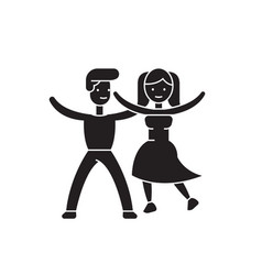 dancing couple black concept icon dancing vector image
