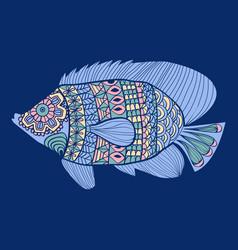 Decorative cute sea fish isolated vector