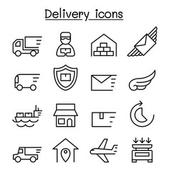 delivery logistic icon set in thin line style vector image