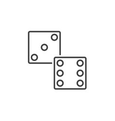 dice linear icon dices symbol in thin line vector image