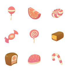 different candy icons set cartoon style vector image