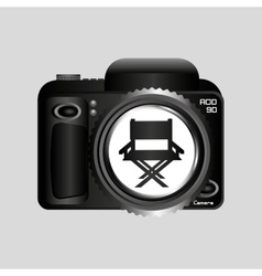 Digital photo camera director movie chair vector