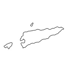 East timor map of black contour curves on white vector