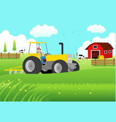 Farmer driving a tractor vector