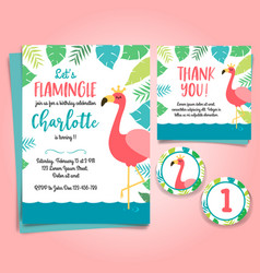 Flamingo birthday invitation pool party vector