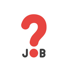 flat design concept of job word with question mark vector image