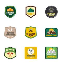 forest camp logo emblem set flat style vector image