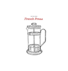 french-press coffee maker hand draw vector image