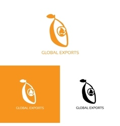Fresh fruit with globe logo vector image