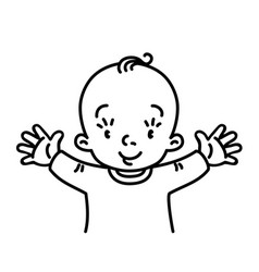 funny small smiling baby with open arms vector image