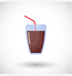 Glass of cola drink flat icon vector