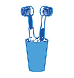 glass with two electric toothbrush in blue vector image