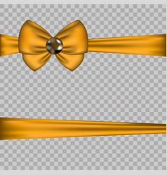 Golden bow decoration with horizontal ribbons on vector