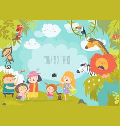 Happy children in zoo with wild african animals vector