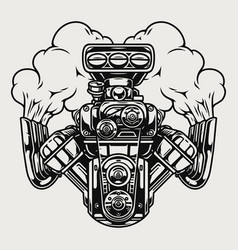 hot rod powerful engine with smoke vector image