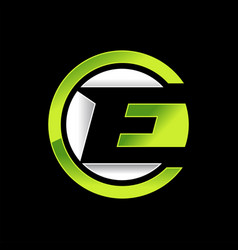 Initial e lettermark circle neon green design vector
