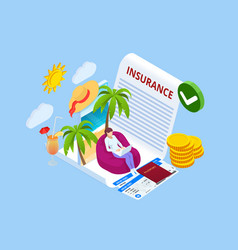 insurance policy booking travel insurance vector image