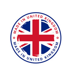 made in united kingdom round label vector image