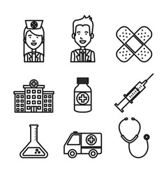 Medical equipment staff supplies healthcare icons vector