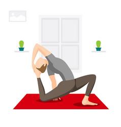 Men practicing yoga vector