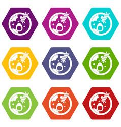 Miso soup icon set color hexahedron vector