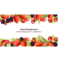 Mixed cherry and berry sweet summer vector