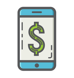 Mobile banking filled outline icon business vector