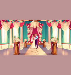 newlyweds on wedding ceremony cartoon vector image