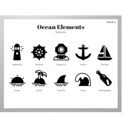 Ocean elements solid pack vector