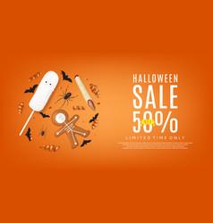 orange web banner with treats for halloween sale vector image