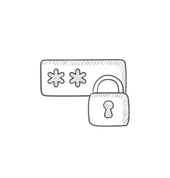 Password protected sketch icon vector image