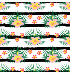 Pattern with lines and flowers vector