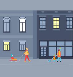 People walking at streets winter city at night vector
