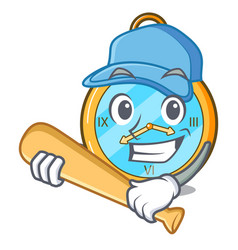 Playing baseball pocket vintage watch on a cartoon vector