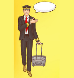 pop art steward flight attendant air hostess man vector image