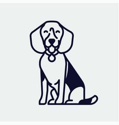 Quality beagle hound dog monoweight stroke linear vector