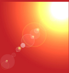 realistic sun burst with flare on red vector image