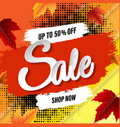 sale banner with blots and leaves vector image