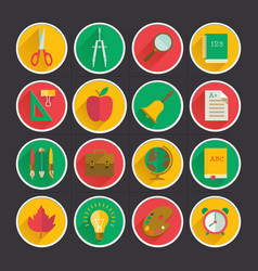 school supplies flat collection vector image