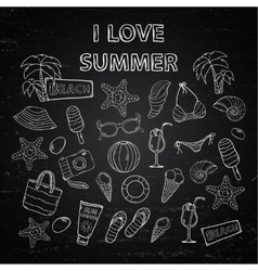 Scrap set I love summer on blackboard vector image