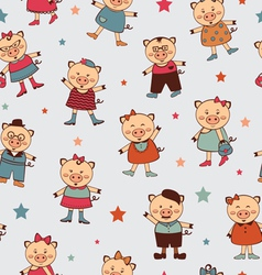 Seamless pigs pattern vector