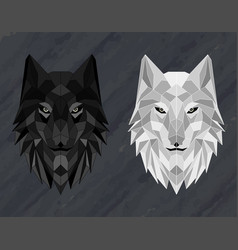 set abstract polygonal wolf head vector image