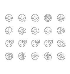 set human brain line icon healthy internal vector image