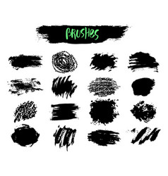 Set of brush acrylic strokes black color vector
