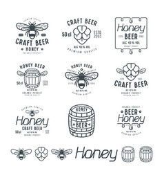 Set of honey beer labels vector