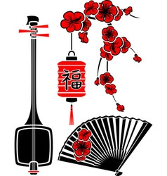 Set of Japanese art shamisen sakura fan and light vector