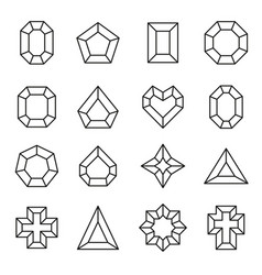 Set of line diamond icons and signs vector