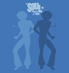 silhouette of men dancing soul funky or disco vector image