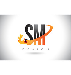 Sm s m letter logo with fire flames design and vector