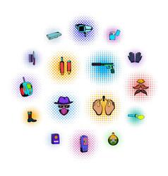 Spy comics icons vector